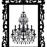 Baroque Frame Chandelier Silhouette Cross Stitch Pattern | Los Angeles Needlework