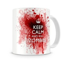 Keep Calm and Kill Zombies - Tea Mug Coffee Cup - Gift