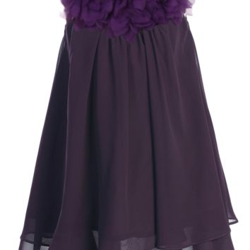Eggplant Purple Chiffon Shift Dress with 2 Tier Hem & Floral Mesh Neckline (Girls 2T - Size 14)