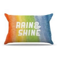 "KESS Original ""Rain & Shine"" Rainbow Abstract Pillow Sham"