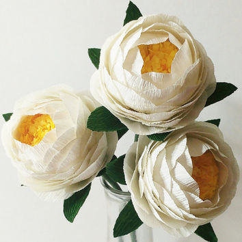 Crepe Paper Flowers Paper Peony Bouquet For Home Decoration/Wedding Decor 3pcs (Ivory White)