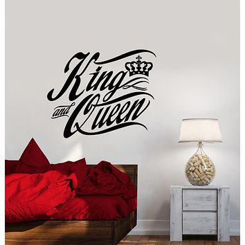 Vinyl Wall Decal Quote Words The King And Queen Crown Bedroom Decor Stickers (3155ig)