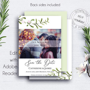 Save the Date PDF Photocard, Save the Date Card, Wedding Announcement, Save the Date Photocard, Photocard Template, Wedding Invitation