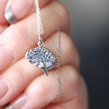 Brain Necklace - Solid 925 Sterling Silver Charm - Free Domestic Shipping