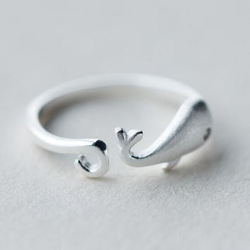 cute whale ring adjustable gift 169