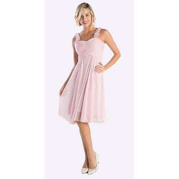Knee Length Champagne Bridesmaid Dress Empire Waist Wide Flower Straps
