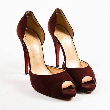 PEAP Christian Louboutin Oxblood Red Suede Peep Toe D  Orsay Pumps
