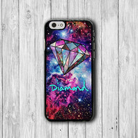 Mint Diamond Nebula Space Hipster Galaxy iPhone 6 Cover, Star iPhone 6 Plus, iPhone 5S, iPhone 4S Hard Case, Rubber Deco Accessories Gift