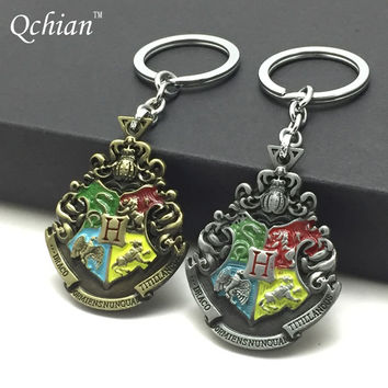 Movie Harry Potter College Logo Key Chain Keyring Harry Potter Keychains for Women Fashion Chaveiro Llavero Key Ring Key Holder