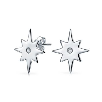 Celestial Shinning North Star Round CZ Stud Earrings Sterling Silver