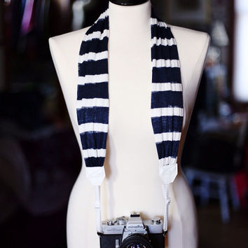 Scarf Camera Strap - Navy Stripe - White Ends
