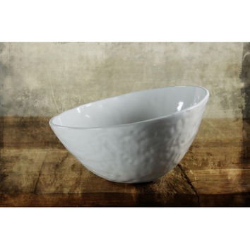 White Asymmetrical Ceramic Bowl