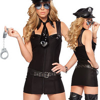 Police Sleeveless Bandage with Tie Collar and Rivet Belt Costume