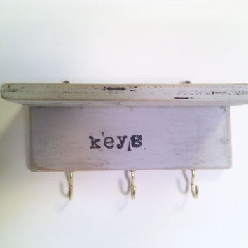 Wall Mounted Key Rack with Shelf in Duck Egg Blue by Ayliss