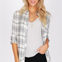 Plaid Flannel Shirt Grey