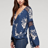 Diamond Lace Bell Sleeve Top
