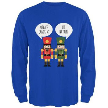 DCCKU3R Christmas Nutcracker What's Crackin' Funny Mens Long Sleeve T Shirt