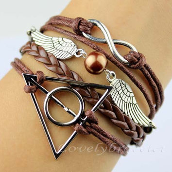 Infinity coffee pearl bracelet wings, harry potter deathly hallows bracelet - the best gift of friendship