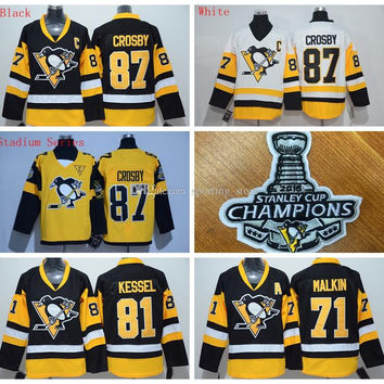 Penguins #87 Sidney Crosby Men Hockey Jerseys Stitch 2016 Stanley Cup Champion Patches Black/White/Stadium Series 3 Styles Hockey Uniform