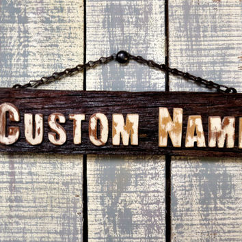 Rustic Antique Personalized Wooden Name Sign Name Plate of Reclaimed Wood