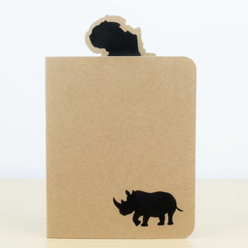 Rhino Silhouette Notebook - Small notebook, Stationery, Journal, Notepad, Notebook journal, Cute notebook, Black rhino, Endangered animals
