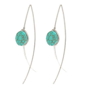 Silver & Turquoise Stone Wire Wrapped Long Thread Hoop Earrings