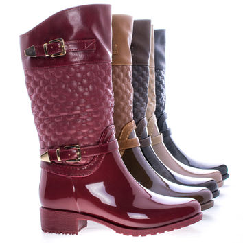 Fatima27K Children's Girl Mid Calf Quilted Buckled Shaft Rain Boots