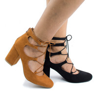 Marcus02 Ghillie Lace Up Leg Wrap Block Heeled Sandal