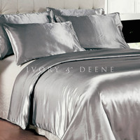 Platinum Silver Satin Doona Cover Bedding Set