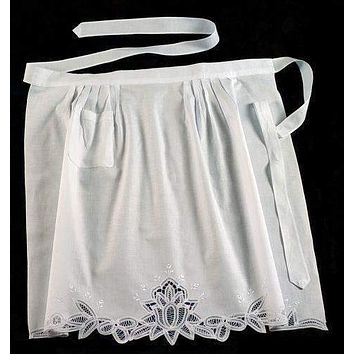 White Battenburg Lace Rose Half Length Apron