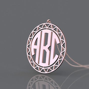 Birthday present monogram necklace 1 inch plated in rose gold with golden lacework