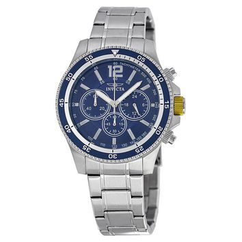 Invicta Specialty Chronograph Blue Dial Stainless Steel Mens Watch 13974