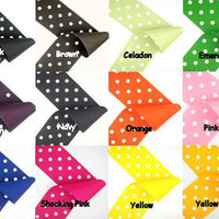 JUMBO X LARGE Uniform School Color Polka Dot Layer Ribbon Hair Bow Karens Creations