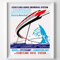 Disneyland Poster, Vintage Monorail System Attraction Poster, Disney, Restored, Restoration,  Tomorrowland, Fathers Day Gift