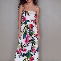 Island Paradise Beige Tropical Floral Print Strapless Maxi Dress