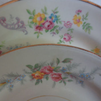 Set of 4 Mismatched Dessert Plates/Small Plates, Floral Plates, B&B Plates, Wedding, Bridal Shower, Tea Party Decor