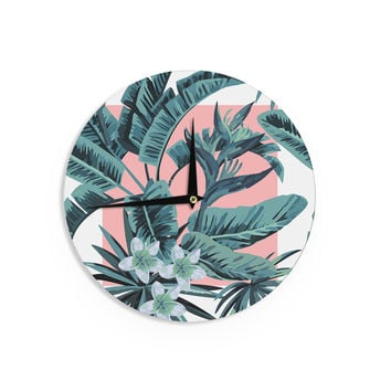 "Kess Original ""Monstera"" Nature Pop Art Wall Clock"