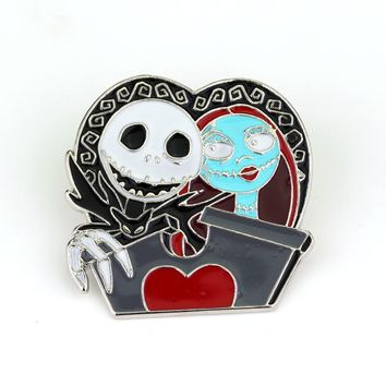 The Nightmare Before Christmas Brooch Jack Mickey Halloween Enamel Pin Goth Emo Jack Fashion Jewelry Christmas Halloween Gifts