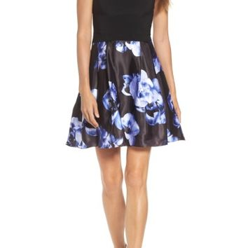 Blondie Nites Floral Skirt Halter Skater Dress | Nordstrom
