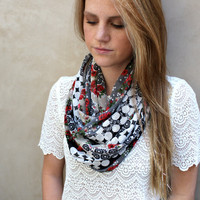 Polka Dot and Flower Infinity Scarf, Loop Scarf, Circle Scarf, Black, White, Roses