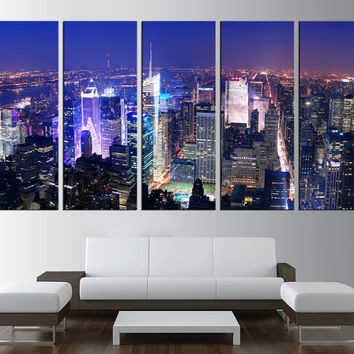 New york skyline wall art canvas print, times square night wall art, extra large wall art, large new york skyline night art print t396