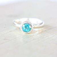 Apatite Ring Sterling Silver Neon Blue Turquoise Engagement Ring Apatite Silver Ring Size 5 Promise Ring