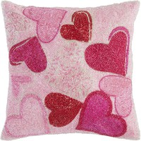 Beaded Hearts Pillow