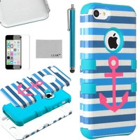 iPhone 5C Case, ULAK Hybrid High Impact Case for iPhone 5C With Soft TPU and Hard PC with Screen Protector and Stylus (Stay/Blue)