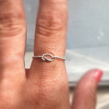 Sterling Silver Knotted Rope Friendship Stacking Ring