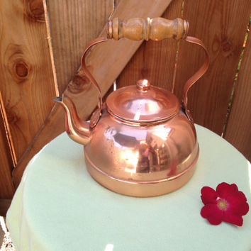 Vintage copper tea kettle. Cottage chic. Gorgeous vase or planter!