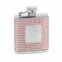 Flask W/ Pink Crystals & Engraving Plate