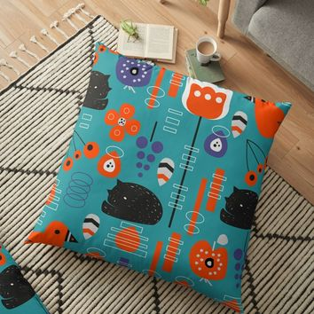'Modern birds and sleepy cats' Floor Pillow by cocodes