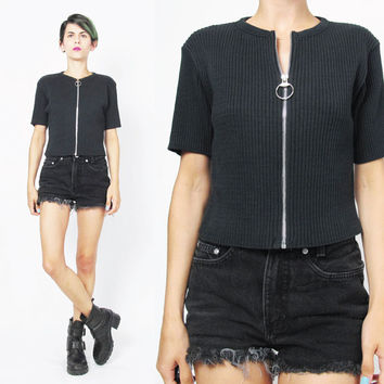 90s Black Ribbed Knit Sweater Top O Ring Zipper Front Top Fitted Short Sleeve Sweater Stretchy Knitted Sporty Grunge Goth Jumper (S/M)