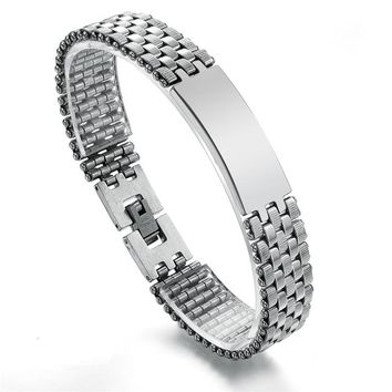 Fashion 316L Stainless Steel Chain Link Man Bracelet Male Jewelry pulseira de prata Men's ID Bracelets 21cm*10mm